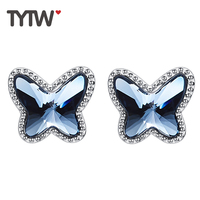 TYTW 100 925 Sterling Silver Crystals Form Swarovski Blue Butterfly Fashion Earrings For Women Jewelry Customize