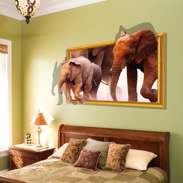 Online Shop diy Running Elephant Animal 3d Wall Stickers Fake Window ...