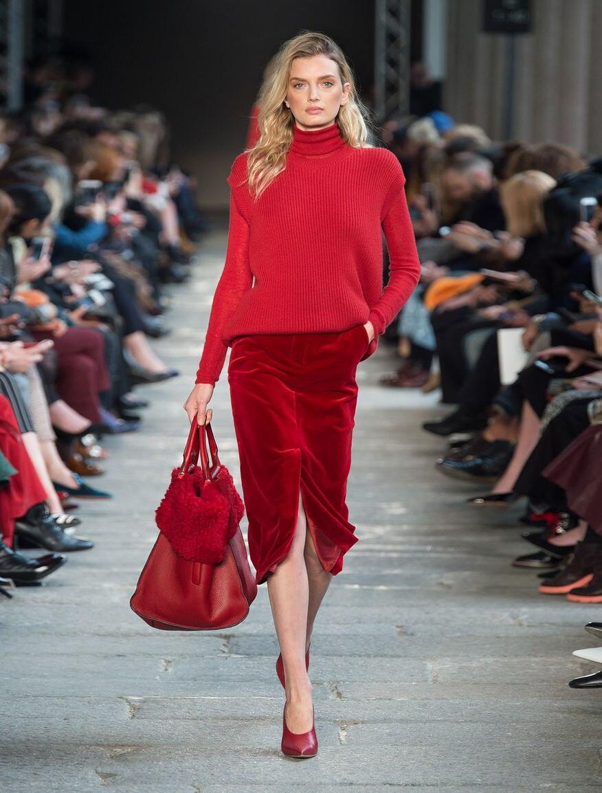 PADEGAO Early Spring Thick Velvet Female Saia Midi 2017 Red Front Split Pencil Skirt Women s