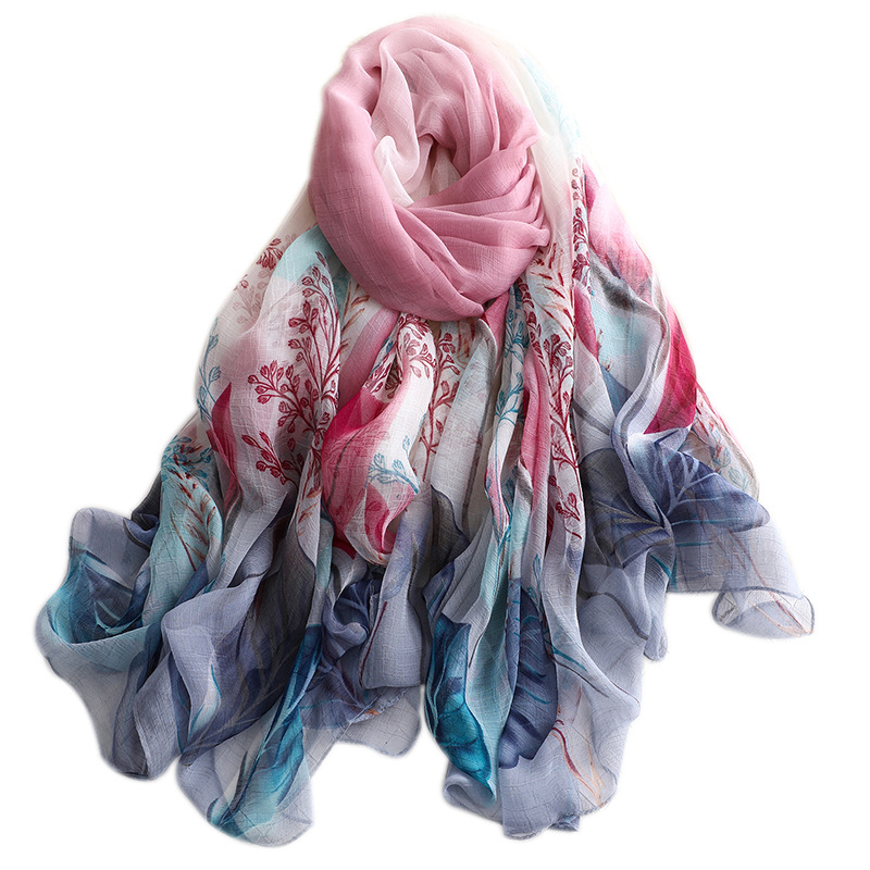 2019 summer large   scarf   for women silk   scarves   shawls and   wraps   lady pashmina soft print sunscreen bandana hijabs beach stoles