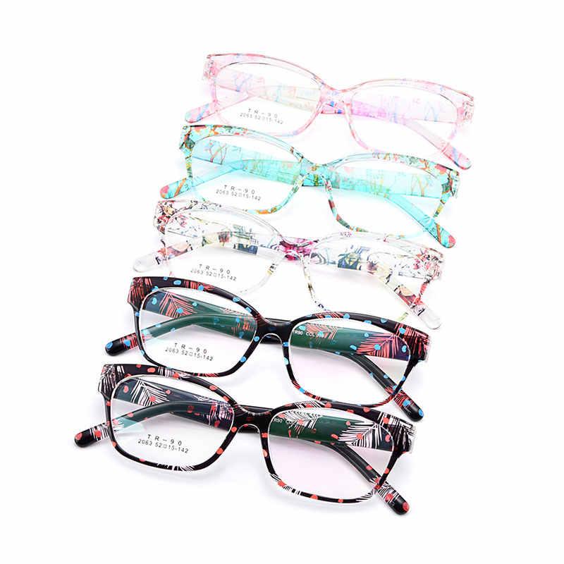 Gmei Optik Urltra-Light TR90 Penuh Rim Optik Kacamata Bingkai Kacamata dengan Bunga Wanita Plastik Miopia Presbyopia Kacamata M2063