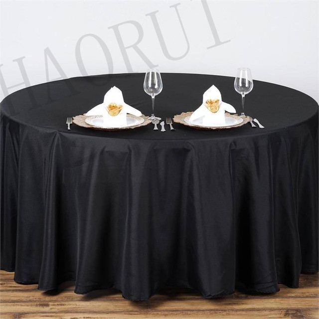 10pcs Customize Tablecloths Polyester Cotton Fabric 120u0027u0027 Round Black  Luxury Dining Tablecloths Weddings Party