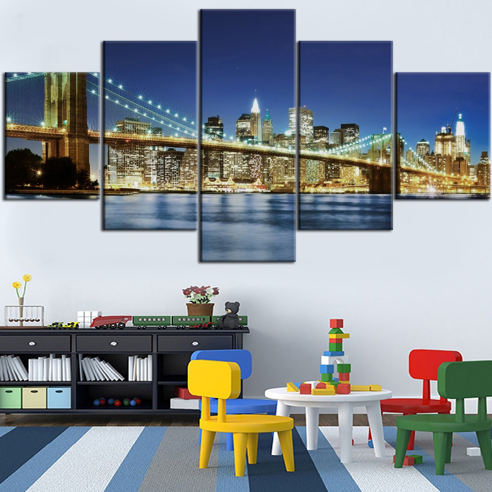 Hot Sell Framework 5 Pieces Hd Printed Painting New York