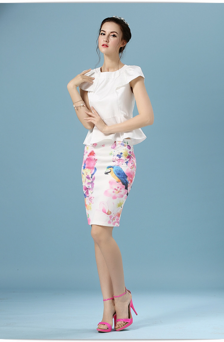Elegant Office Pencil White Floral Bird Print High Waisted Skirt 9