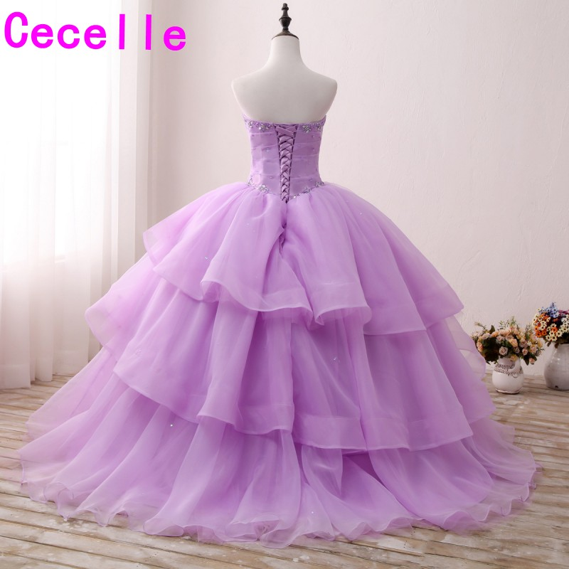 2017 Lilac Ball Gown Long Prom Dresses Sweetheart Beaded Ruffles ...