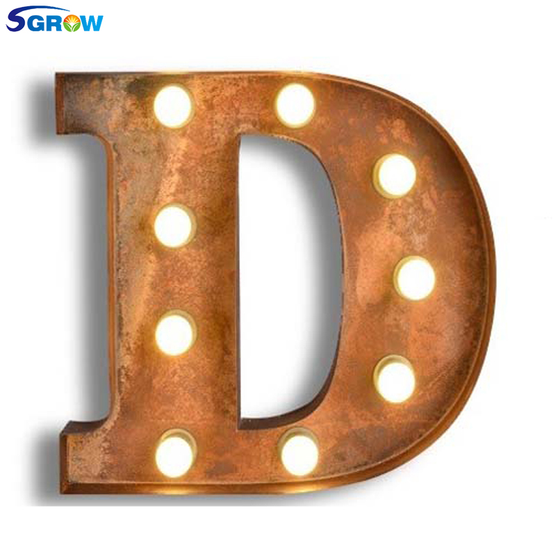 SGROW Metal Letter D Wall Lamp Light for Bedroom Living Room Art Lampara Industrial Creative Lights Logo D Iron Billboard Lamps