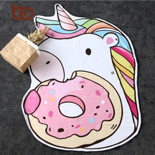 BeddingOutlet Unicorn Tapestry Wall Hanging Irregular Large Towel Cartoon Round Bath Microfiber Funny Beach Mat Drop Ship