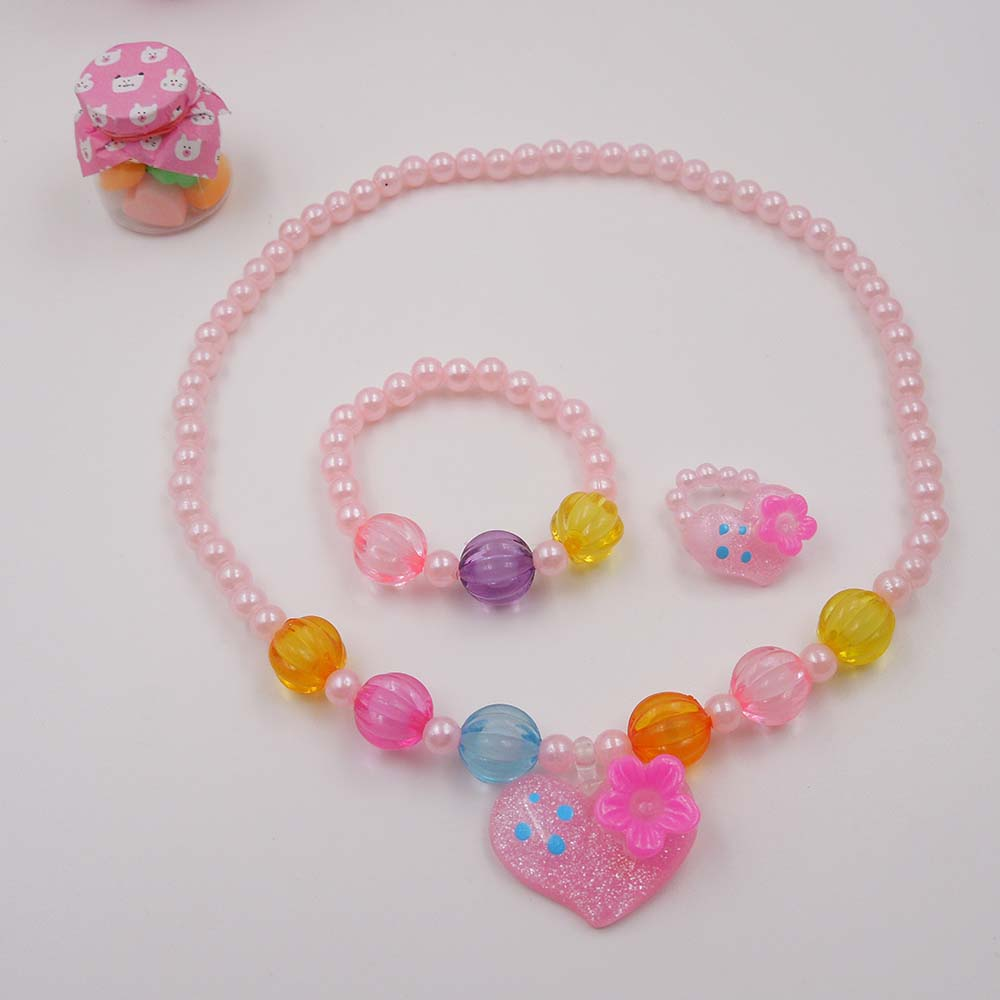 Candy Color Children Cute Heart Necklace Jewelry Simulated Pearl Girl Kids  Baby Stretch Necklace Set Gj9