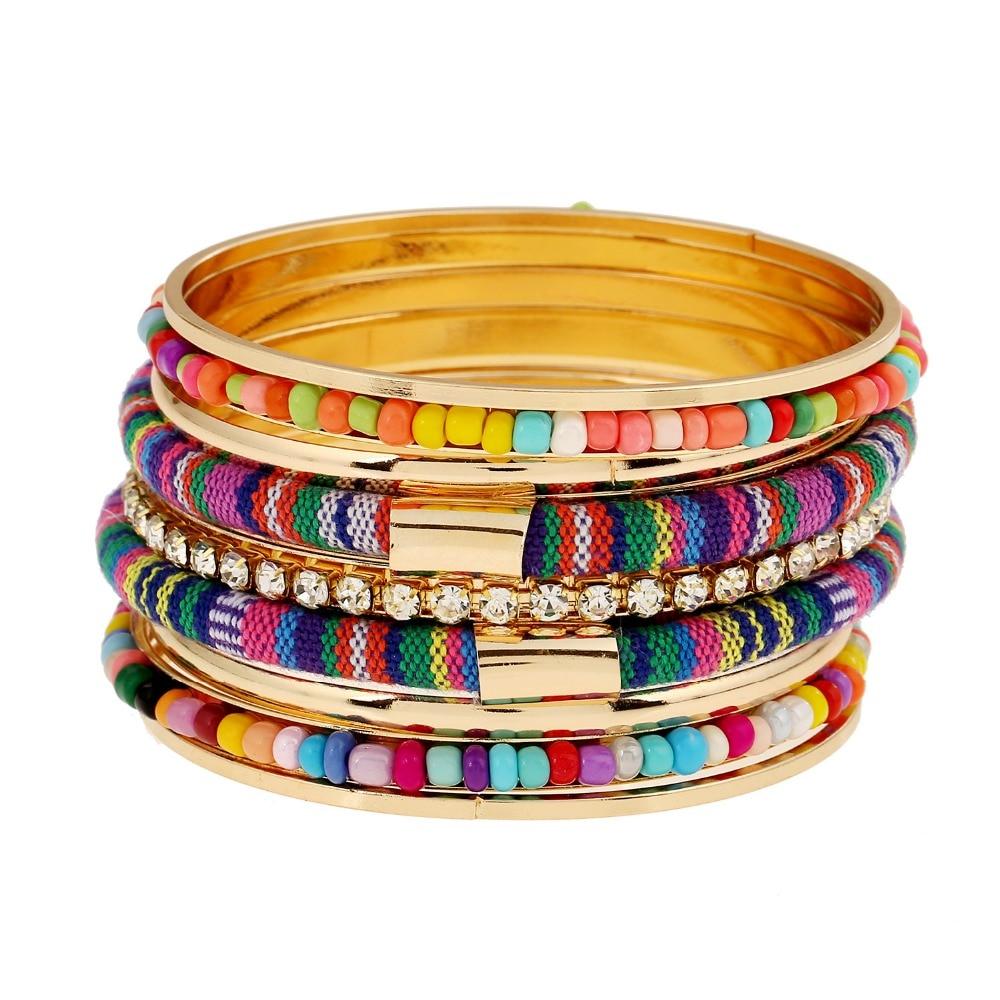 Luxury Time 2017 Gold Color Bracelets  Bangles Women Bracelet Manchette Colorful Women BraceletsBangles Sets Pulseira Feminina