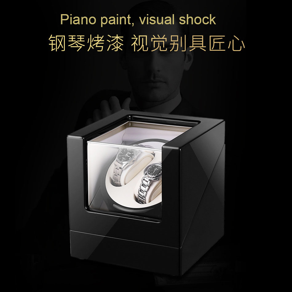 Automatic Mechanical Watch Winding Box Wooden Auto Silent Watch Winder Irregular Shape Transparent Cover Wristwatch Box