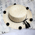 2016 El Nuevo Tipo de Estilo de la Moda Colorida Bolas Borla Fold Sun sombreros de Las Mujeres Lindas Y Tipo De Patrón Sólido Estilo Casual Beach Caps