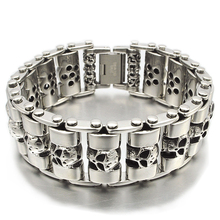 NIENDO Promotion 2017 New Top Quality Silver Color Stainless Steel Skull Head Men Jewelry Bracelet Christmas Gift DB975