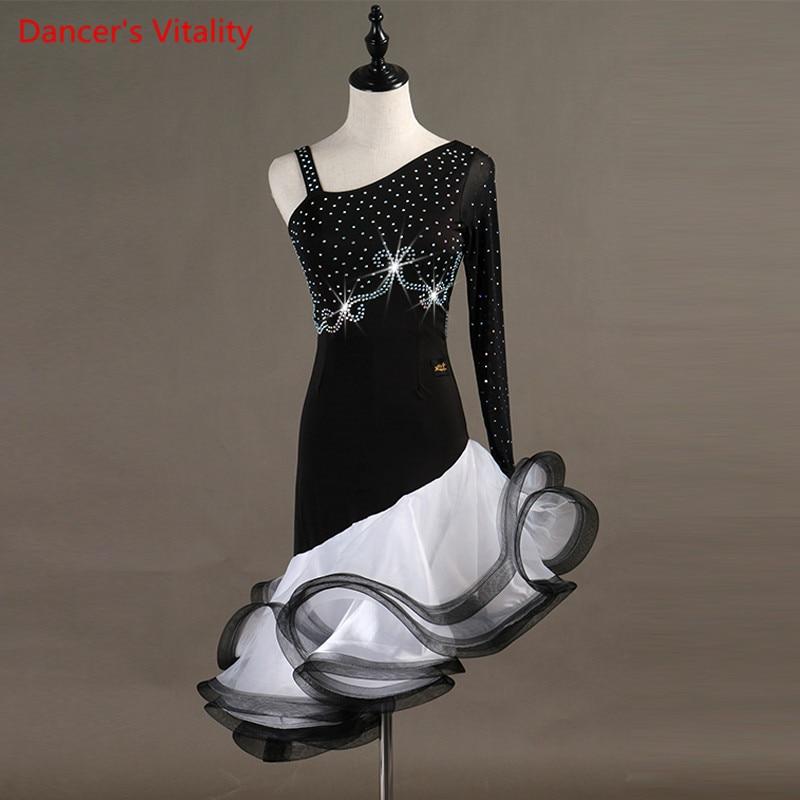 Custom Made Competition Latin/Women/girls Dance Dress Rumba Skirt Ballroom Stage Costumes Costume Rhinestone Dance Dress