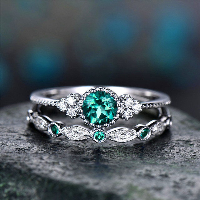 Bamos Dainty Blue/Green Stone Ring Set For Women Jewelry Elagant Zircon Stacking Rings 925 Sterling Silver Filled Wedding Gift