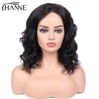 4*4 dentelle cheveux humains perruques lâche vague brésilienne cheveux fermeture perruque courte cheveux humains pour les femmes noires couleur noire naturelle HANNE