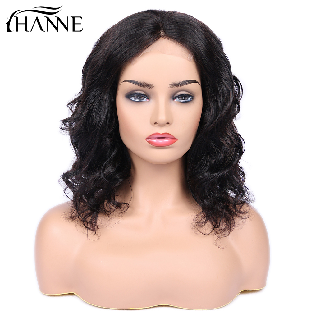 4*4 Lace Human Hair Wigs Loose Wave Brazilian Hair Closure Wig Short Human Hair For Black Women Natural Black Color HANNE