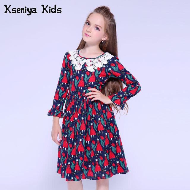 Kseniya Kids Girls Dress Long Sleeve Petal Print Cotton Girls Graduation Dress For Baby Girl Lace Dress Princess Girl Clothes