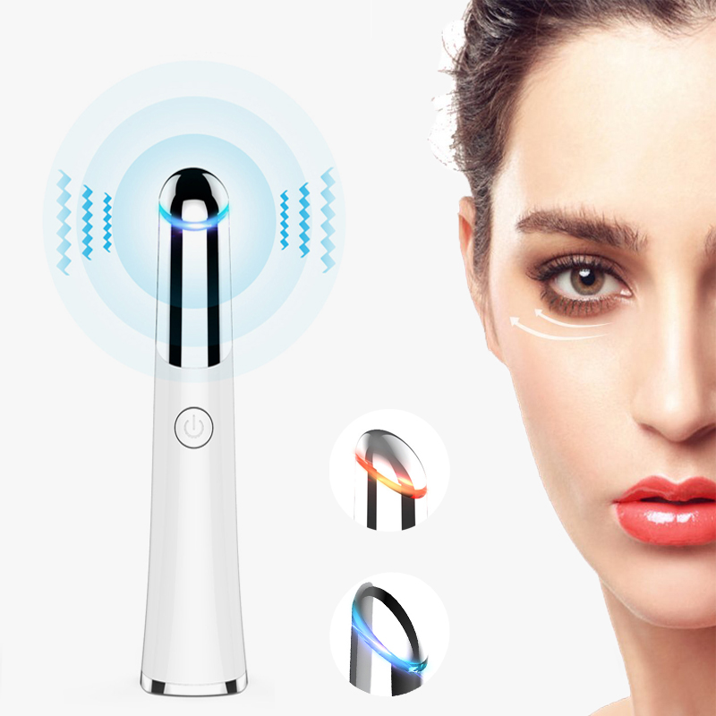 Electric Heated Sonic Eye Massager Wand Rechargeable Face Massager Roller Wand Eliminating Wrink Anti-aging Eye Care Machine