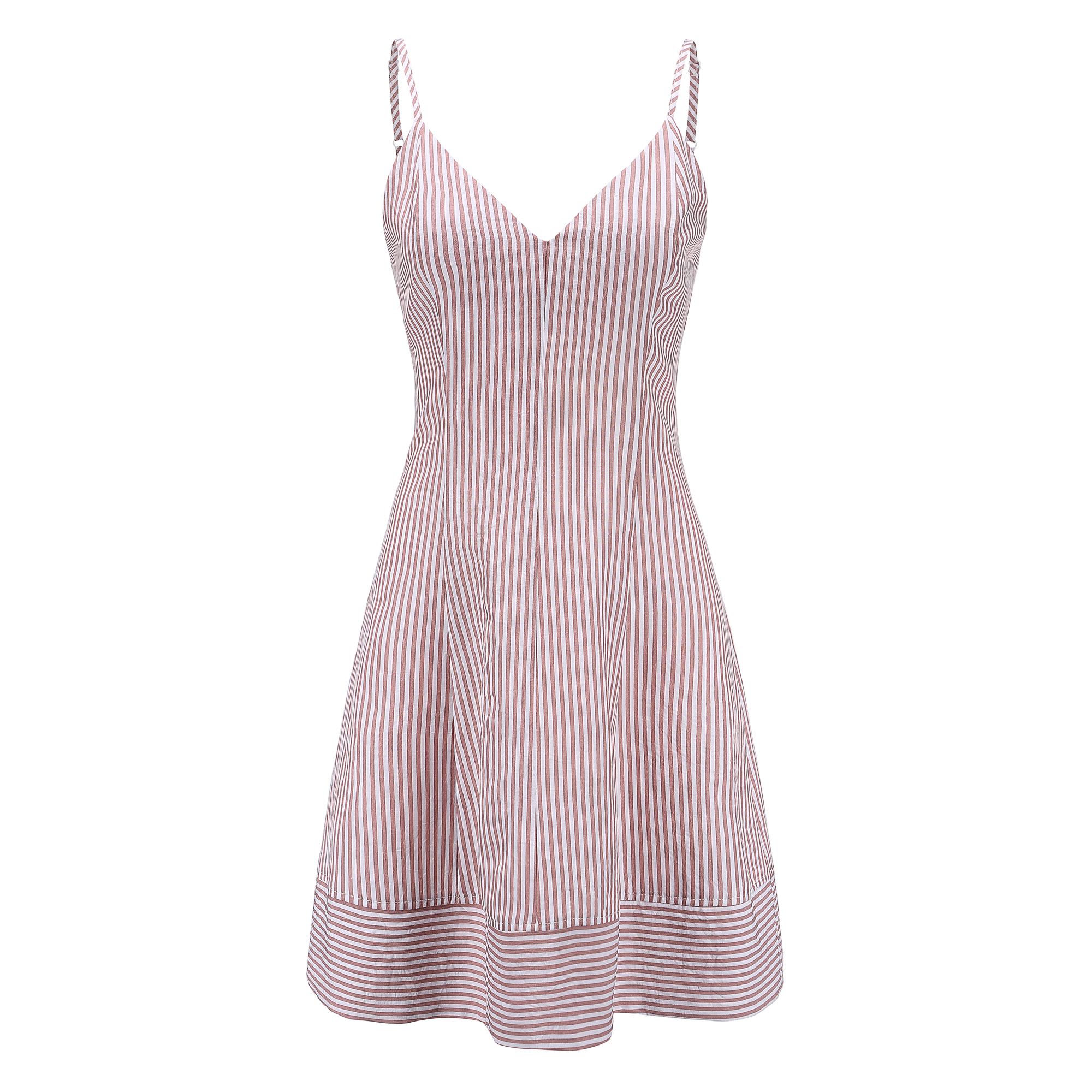 New Design Women Striped Dress A line Red Striped V Neck Collar Dresses for Female Casual Ladies Summer Sling Mini Dress 81817 in Dresses from Women 39 s Clothing