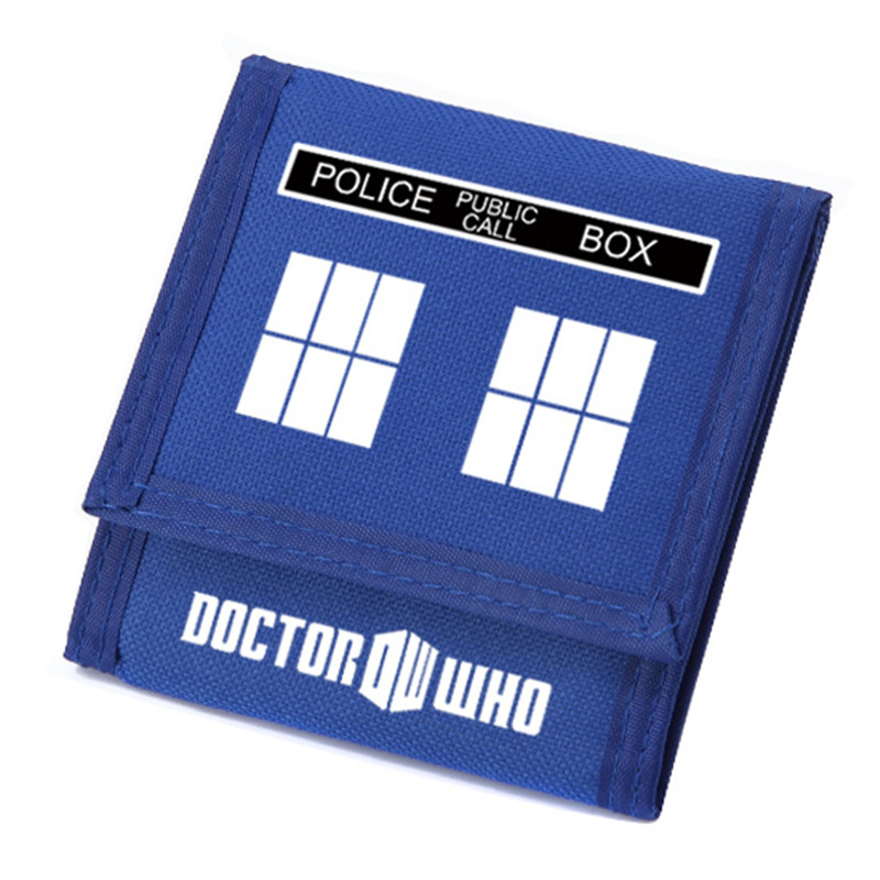 Doctor Who TARDIS Police Box Printing Unisex Short Wallet Canvas Blue Men Coin Purse Fashion Women Card Holder Organizador