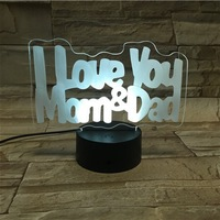 I Love you word shape Dad&Mom 3D LED night Light Romantic table Lamp Usb Led Light Lamp Romantic gift Declaration lamps
