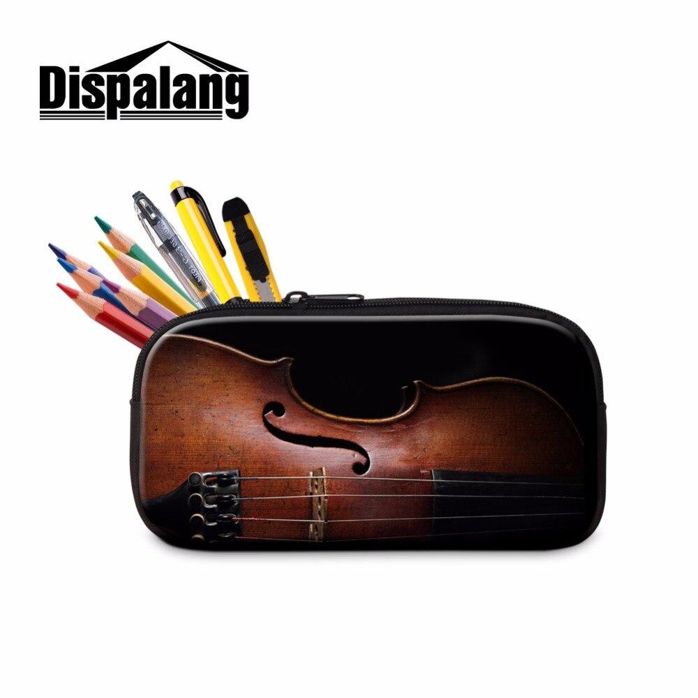 Dispalang Art Cosmetic Cases Violin Print Pencil Cases Large Zipper Pen Bag for Office School Pen Set for High Class Students
