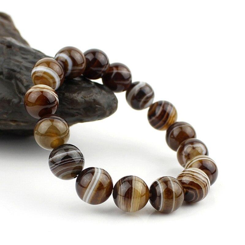 100% Natural Sardonyx Agate Bracelet Round Beads lace Agates Bracelet Crystal Bangles Bracelets Pretty Men Women's Jade Jewelry