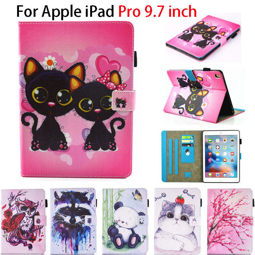 Fashion Cartoon Silicone PU Leather Flip Cover For Apple iPad Pro 9.7 inch Case Tablet Funda Owl Cat Dog Pattern Stand Shell cartoon painted flower owl for kindle paperwhite 1 2 3 case flip bracket stand pu cover for amazon kindle paperwhite 1 2 3 case