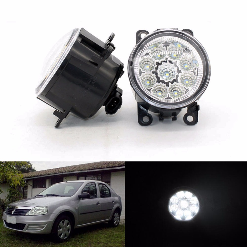 ФОТО 2pcs Car Styling Round Front Bumper LED Fog Lights DRL Daytime Running Driving fog lamps for Renault LOGAN Saloon LS 2004-2015