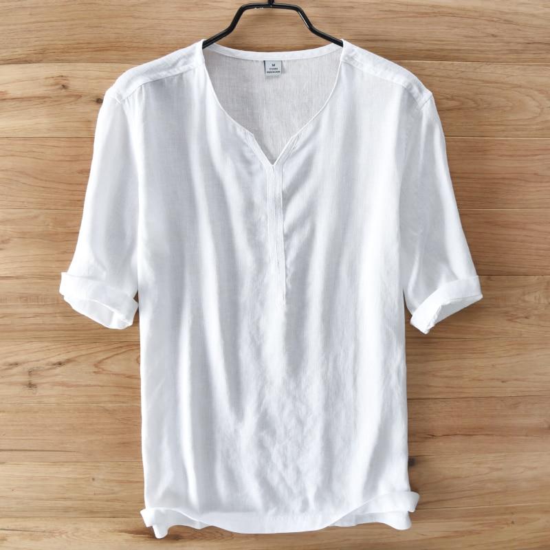 Casual Flax Half Sleeve Shirt V Neck Loose Men S Shirt