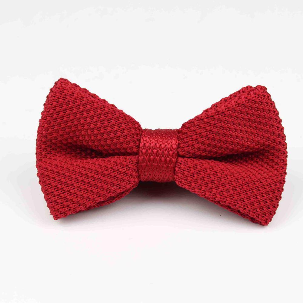 Мужские галстуки для шеи, смокинг, вязаная бабочка, Одноцветный галстук-бабочка, толстый двухслойный предварительно завязанный Регулируемый вязаный Повседневный галстук - Цвет: 23