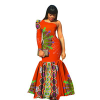 African Dresses for Women 2019 Fashion Style Mermaid Floor Length One Shoulder Dashiki Dresses African Clothing Ladies Clothes