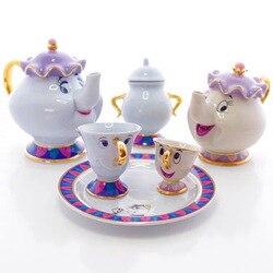 Venda rápida beleza e a besta conjunto de chá cerâmica bule xícara de chá com bandeja cartoon mrs potts chip bule de chá copo lindo presente de aniversário