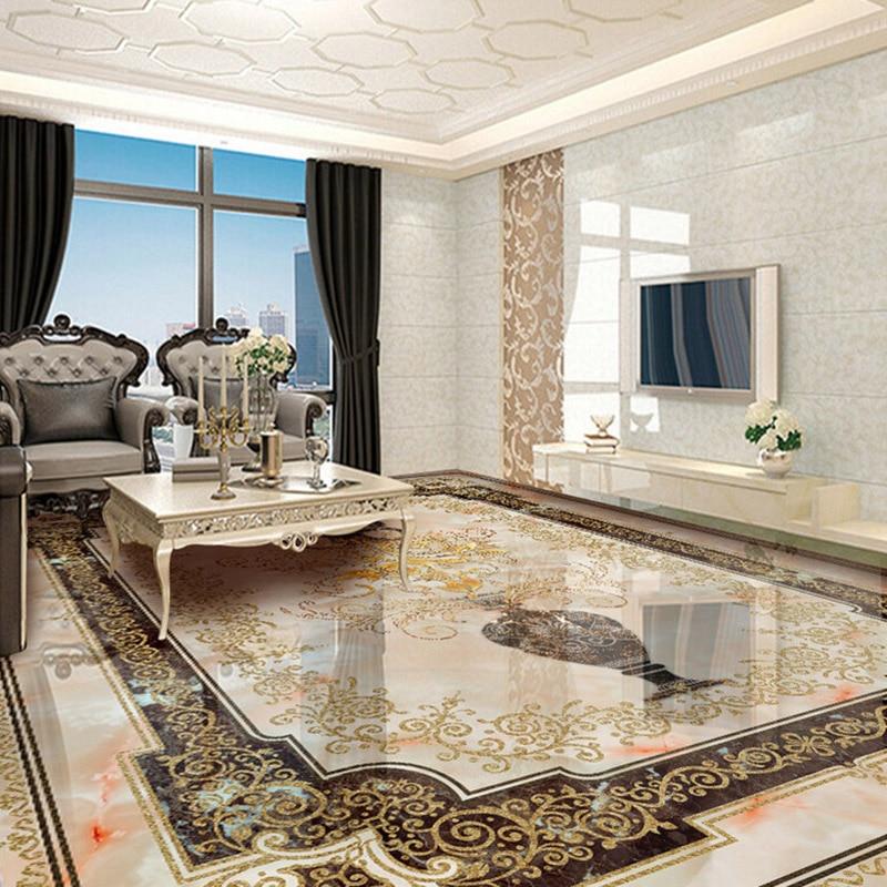 Custom Self-adhesive Floor Mural Classic European Style Vase Marble Floor Tile Wall Paper Sticker Living Room Papel De Parede 3D