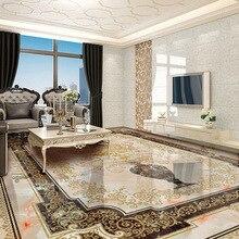 Custom zelfklevende Floor Muurschildering Klassieke Europese Stijl Vaas Marmeren Vloer Tegel Muur Papier Sticker Woonkamer Papel De parede 3D