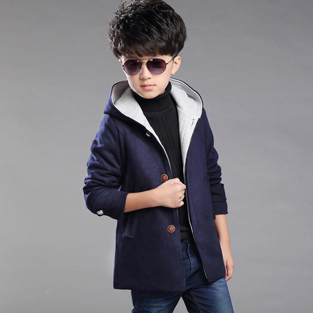 New Arrival 2017 Winter Boys Coat Fashion Solid Jacket Children Woolen Hooded Coat Kids Outerwear Jackets Teenager Boy Clothes
