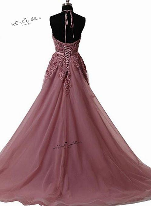 Robes de Gala rose Sexy dos nu robes de bal longue dentelle licou grande taille robes de soirée formelle Occasion spéciale femmes robe - 2
