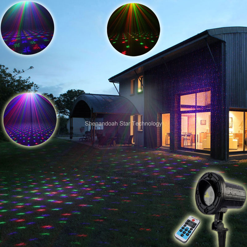 Outdoor Waterproof RGB Laser Full Stars Sky Patterns Projector Holiday House Party Xmas Tree Wall Landscape Garden Light T83 full house