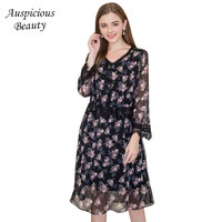2018 New Spring Fashion Elegant Lace Party Dress Women Comfortable Long Sleeve V Neck Plus Size
