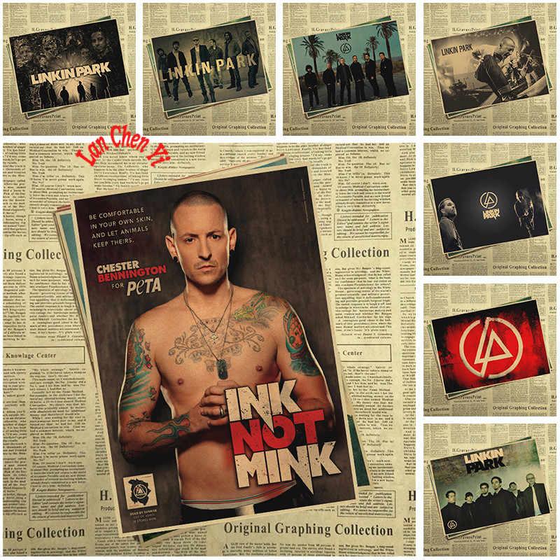 Linkin Park Rock Band Musica Poster Vintage Retro Carta Kraft Antico Poster Da Parete Sticker Complementi Arredo Casa