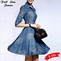 2017 Denim Dress Женщины 5XL 4XL Sm Плюс Размер Половина рукава Лето Вышивка Blue Jeans Dress Элегантные Дамы Повседневная Party Dress