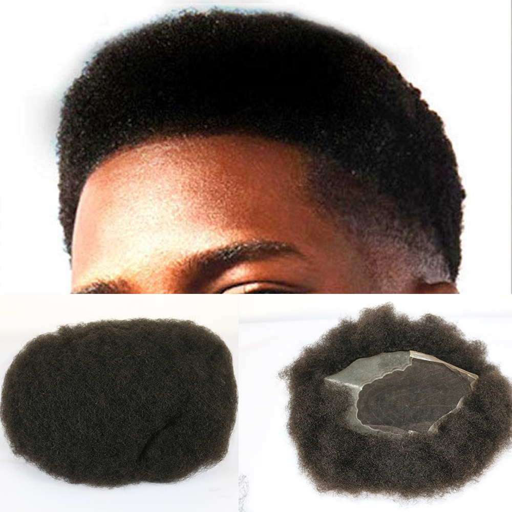 SimBeauty Afro Men's Toupee Hairpiece Brazilian Natural Remy Human Hair Afro Curl Men Wig Q6 Base Hairpiece 8x10 Inches