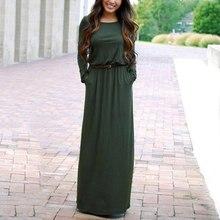 Fashion pocket long Sleeve maxi summer dress elegant Sashes casual black floor length round neck women dress цена