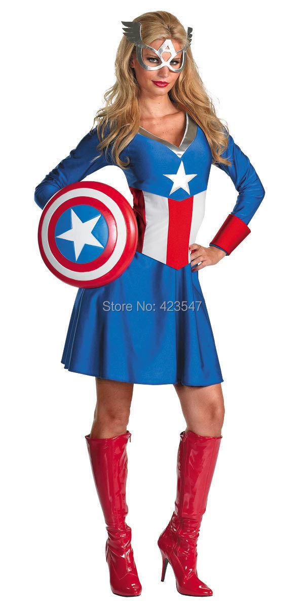 Blue Captain America Female Adult Costume Marvel Comics Lycra spandex costumes
