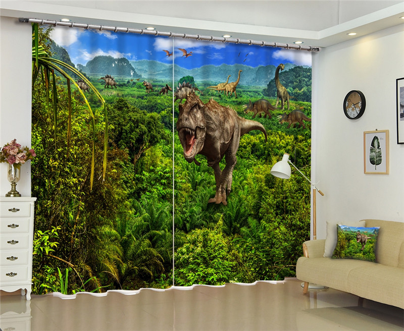 Jurassic World Window Blackout Luxury 3D Curtains set For Bed room Living room Office Hotel Home Wall Decorative Drape tapestryJurassic World Window Blackout Luxury 3D Curtains set For Bed room Living room Office Hotel Home Wall Decorative Drape tapestry