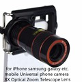 Universal 8x Zoom Óptico Mobile Phone Telescope Camera Lens Lupa para iphone 6 s plus 6 5S samsung s7 s6 note 5 inteligente telefone