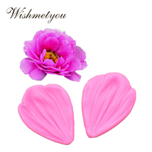 WISHMETYOU New Peony Flower Styling Clamp Silicone Soap Mold Roses Petals Small Leaves Shape Handmade Wedding Decoration