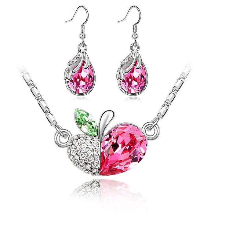 Summer Wedding Austrian Crystal Apple Jewelry Sets Necklace Earrings