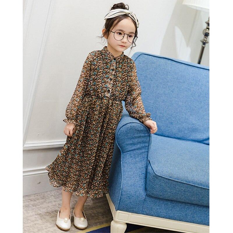 ФОТО Hot Sale 2017 Spring Autumn Long Sleeve Princess Dress Floral printed Kids Girls Dress Dresses Cotton Soft Kids Girls Dress OT11