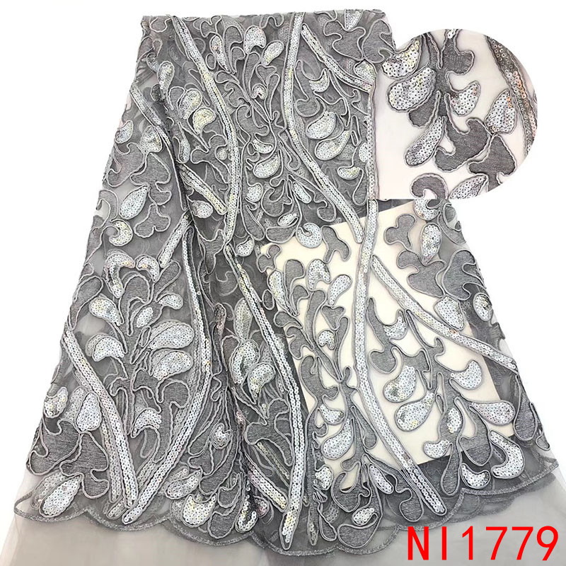 2019 Latest African Lace Fabric French High Quality Tulle Nigerian Laces Fabrics Embroidery Mesh With Stones KsNI1779